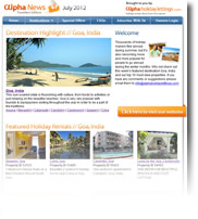 Destination Highlight - Goa, India - Holiday Newsletter no.1 July 2012