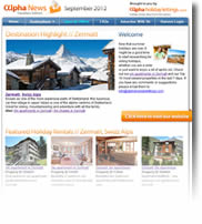 Skiing in Zermatt, plus Toronto, Pavia, Somerset and more - Holiday Newsletter no. 2 September 2012