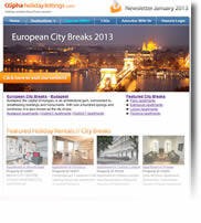 European City Breaks 2013 - Budapest, Amsterdam, Barcelona, London - Newsletter No.1 January 2013